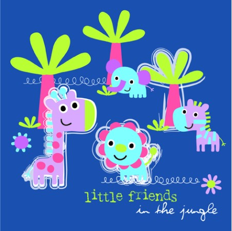 Lunchservet Jungle Little Friends blue