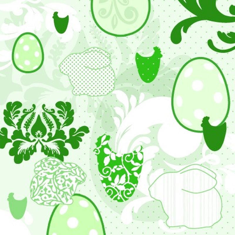 Lunchservet Easter Patchwork green