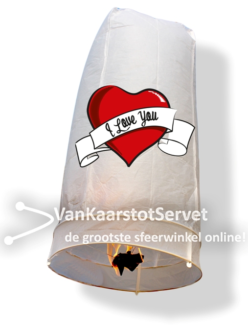 Wensballon 100-50 wit 'I love you'
